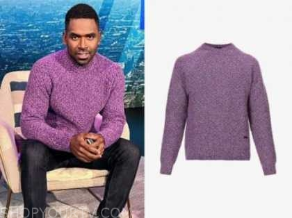 justin sylvester, purple sweater, E! news, daily pop