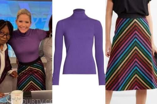 sara haines, the view, purple turtleneck, rainbow striped skirt