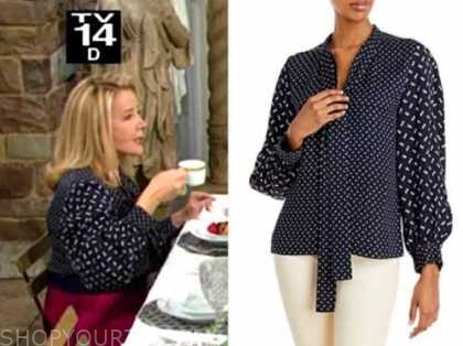 nikki newman, melody thomas scott, the young and the restless, blue printed tie neck blouse
