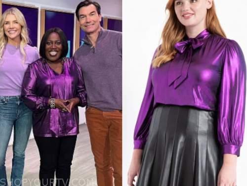 the talk, sheryl underwood, purple tie neck metallic top