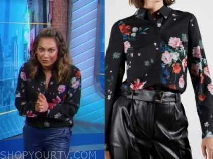 good morning america, ginger zee, black floral blouse
