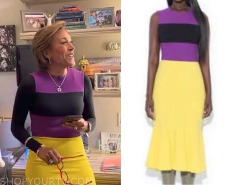 good morning america, purple and yellow colorblock dress, robin roberts