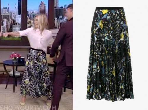 kelly ripa, live with kelly and ryan, black floral pleated midi skirt