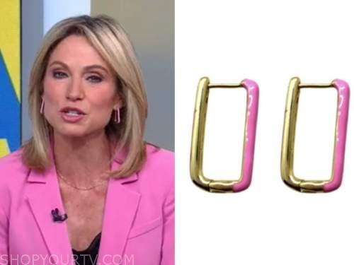 amy robach, good morning america, pink hoop earrings