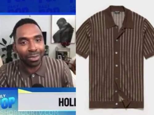 justin sylvester, E! news, daily pop, brown knit striped polo shirt