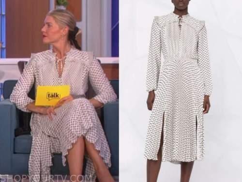 the talk, amanda kloots, white bow print midi dress