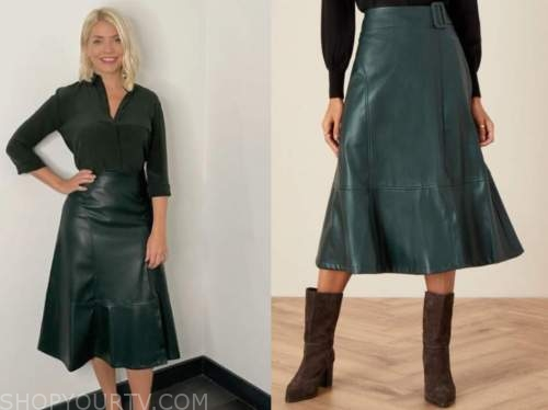 holly willoughby, this morning, green leather skirt