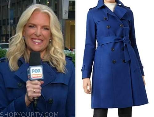 janice dean, fox and friends, blue trench coat