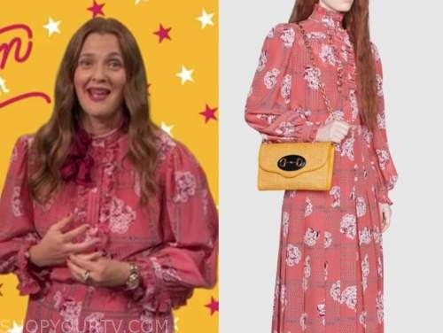 drew barrymore, drew barrymore show, pink floral blouse and pink floral skirt