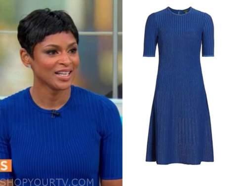 jericka duncan, cbs mornings, blue ribbed knit dress
