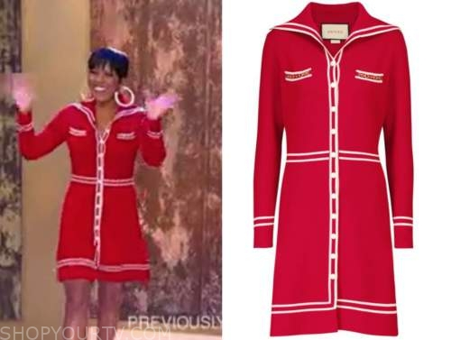 tamron hall, tamron hall show, red contrast trim dress