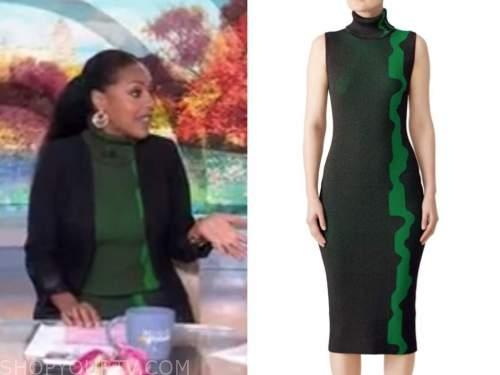 sheinelle jones, the today show, green turtleneck dress