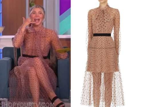 amanda kloots, the talk, tulle polka dot midi dress