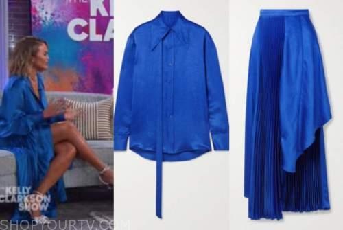 chrissy teigen, the kelly clarkson show, blue satin shirt and blue pleated skirt