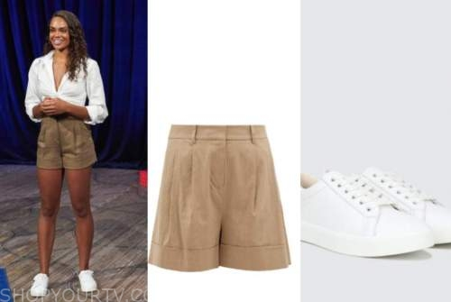 michelle young, the bachelorette, tan shorts, white sneakers