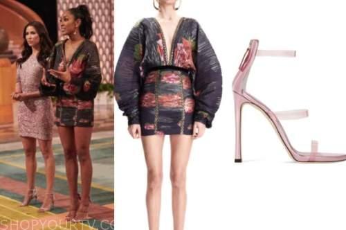 tayshia adams, the bachelorette, black floral dress, pink sandals