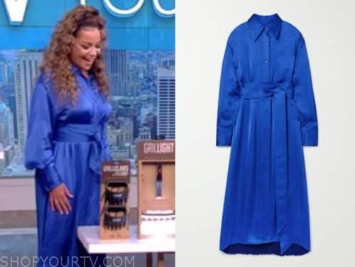 sunny hostin, the view, blue shirt dress