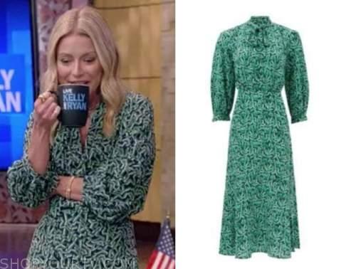 kelly ripa, live with kelly and ryan, green printed dress