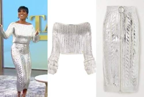 tamron hall, tamron hall show, silver sweater and knit skirt