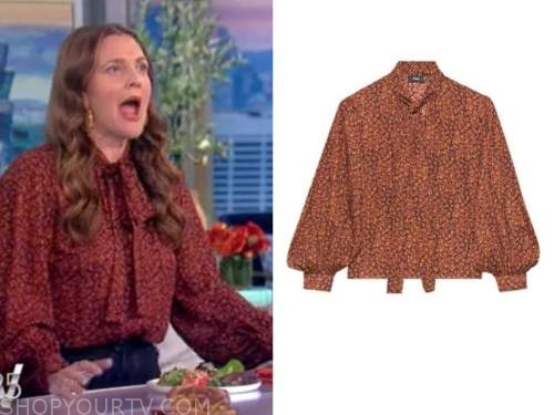 drew barrymore, the view, rust floral tie neck blouse