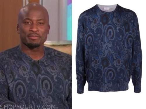 the talk, Akbar Gbajabiamila, blue paisley sweater