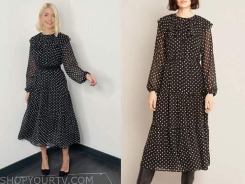 holly willoughby, this morning, black polka dot midi dress