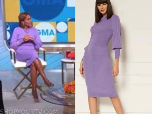 robin roberts , purple cable knit sweater and skirt, good morning america